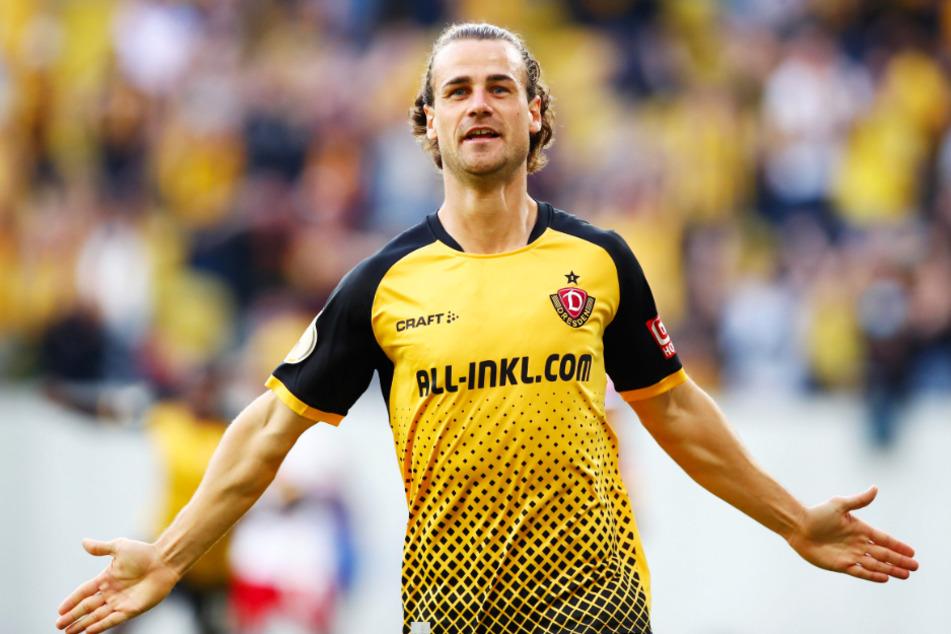 Dynamo-Kämpfer Yannick Stark (29) will gegen Magdeburg wieder so jubeln wie bei seinem 1:0-Führungstor gegen den HSV.