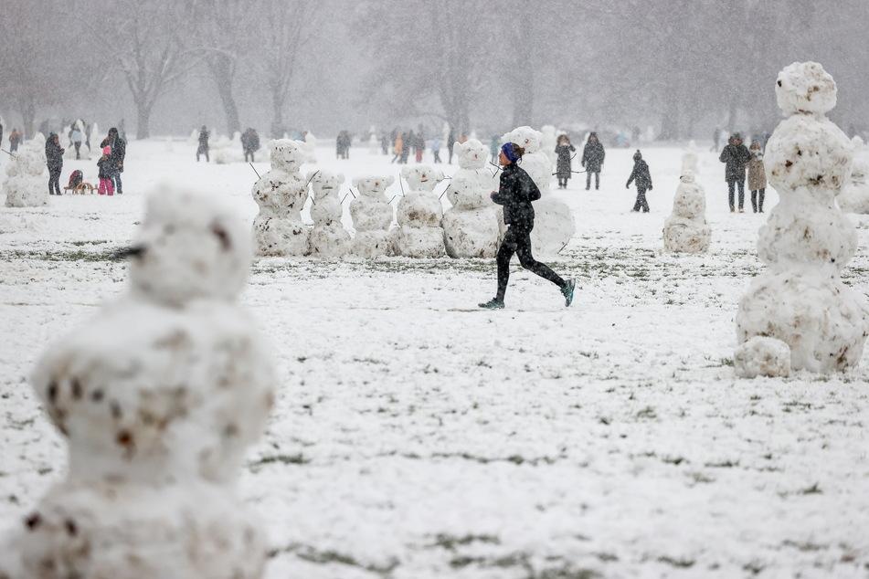 Zahlreiche Schneemänner entstanden im Rosental in Leipzig.