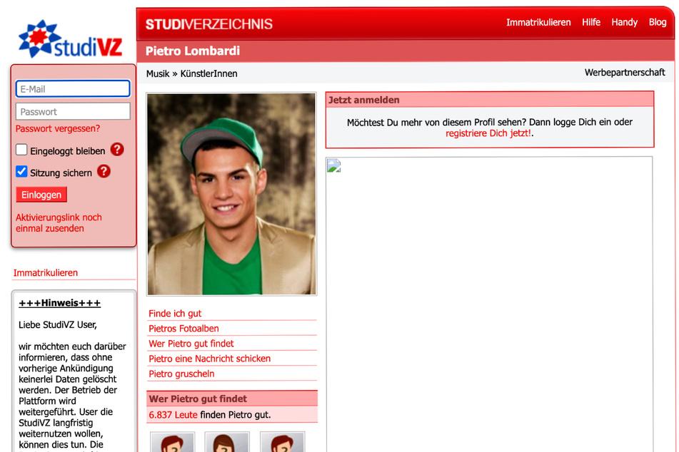 Auch Promis wie Pietro Lobardi (29) bekamen auf studiVZ öffentliche Profile, die immer noch aufrufbar sind.