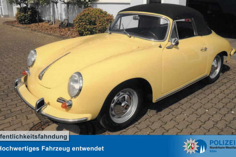 Das gelbe Porsche Coupé 356 BTG (Super 90 Typ 616) verschwand aus einer Tiefgarage in der Reiherstraße.