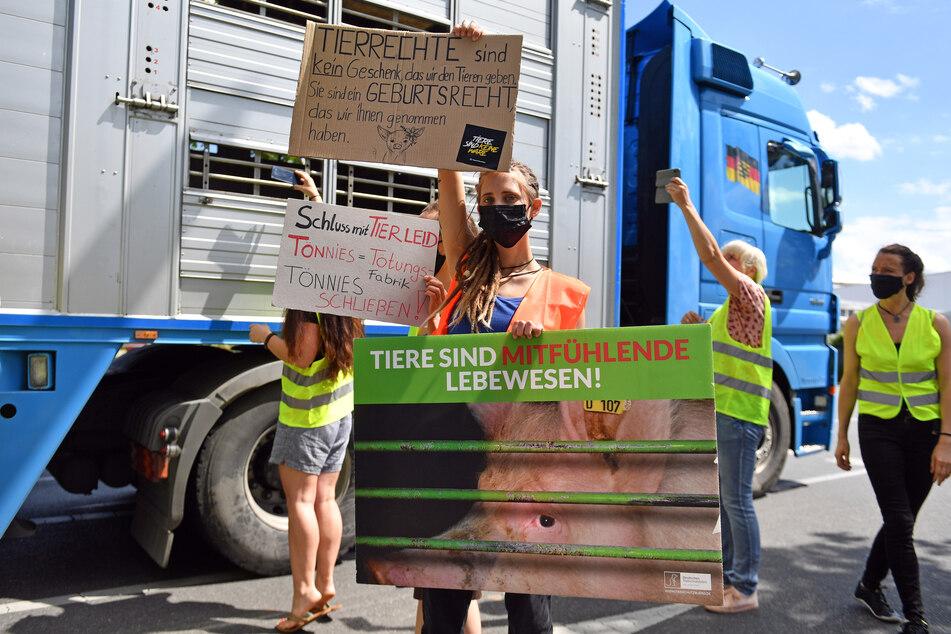 Aktivisten stoppen Viehtransporter vor Tönnies-Schlachthof