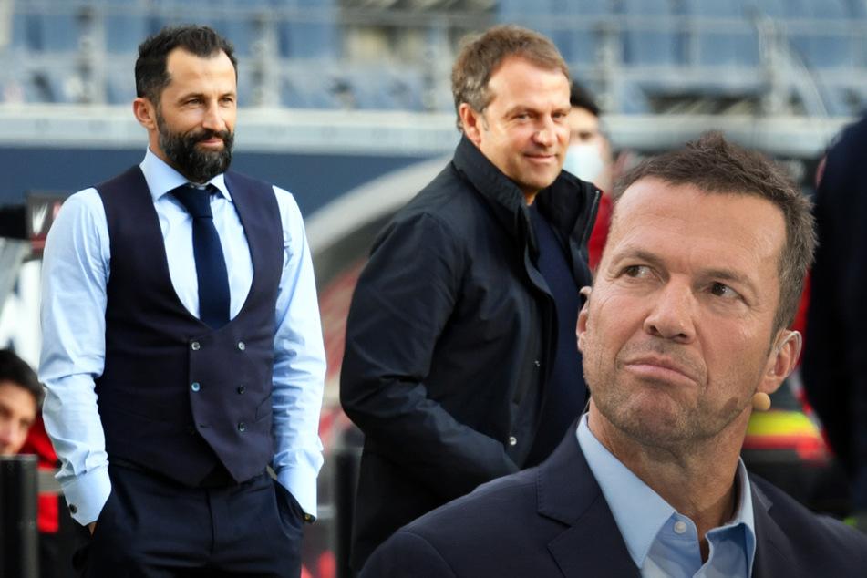 Lothar Matthäus (60, r.) glaubt nicht, dass Bayern-Trainer Hansi Flick (56, M.) und Sportvorstand Hasan Salihamidzic (44, l.) ihren Streit beilegen.