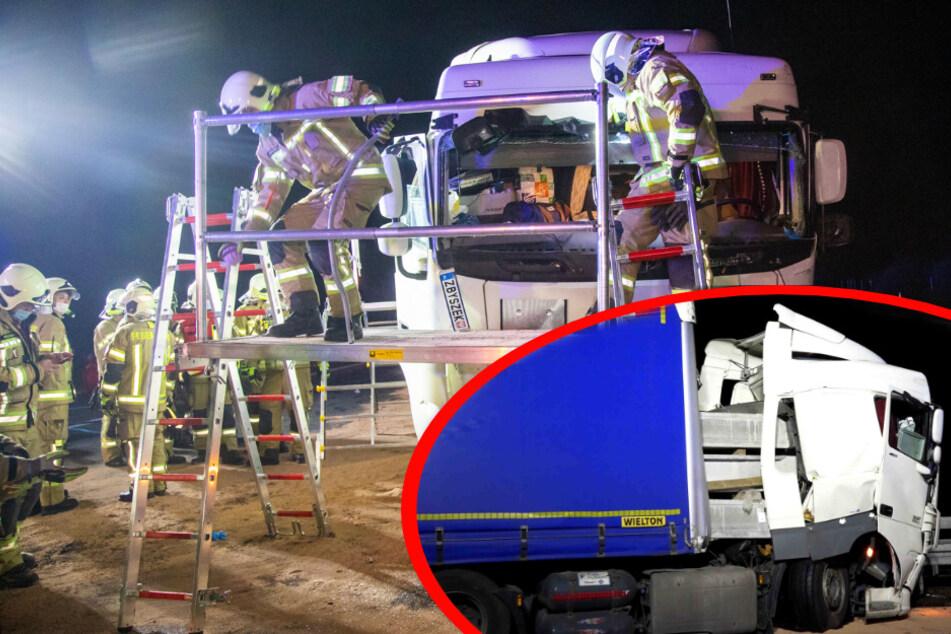 Unfall A4: A4-Unfall mit Schutzengel: Lkw kracht in Leitplanke, Betonpfeiler bohren sich ins Fahrerhaus