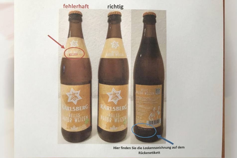 Die Flaschen (li.) wurden irrtürmlich mit einer Halsschleife versehen, die das alkohlhaltige Produkt als alkoholfrei ausweisen.