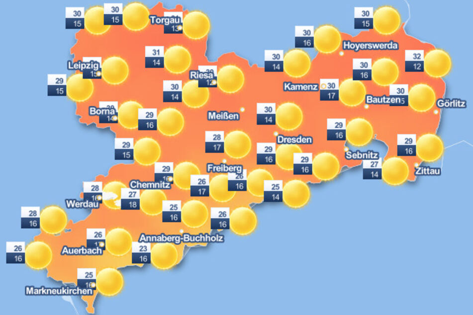 Auch am heutigen Dienstag bleibt es sommerlich mit Temperaturen bis zu 33 Grad.