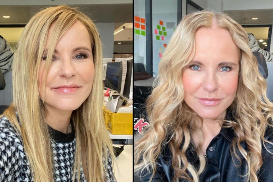 """RTL-Moderatorin Katja Burkard (55) fühlt sich mit glatten Haaren wie """"eine andere Frau"""". (Fotomontage)"""
