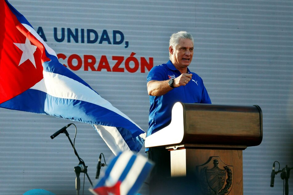 Cuban President Miguel Díaz-Canel at a rally in response to the July 11 anti-government protests.