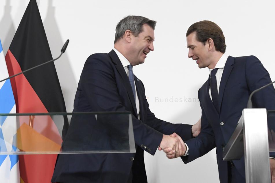 Markus Söder (CSU) und Österreichs Kanzler Sebastian Kurz (ÖVP) haben sich gegen Grenzschließungen ausgesprochen. (Archiv)