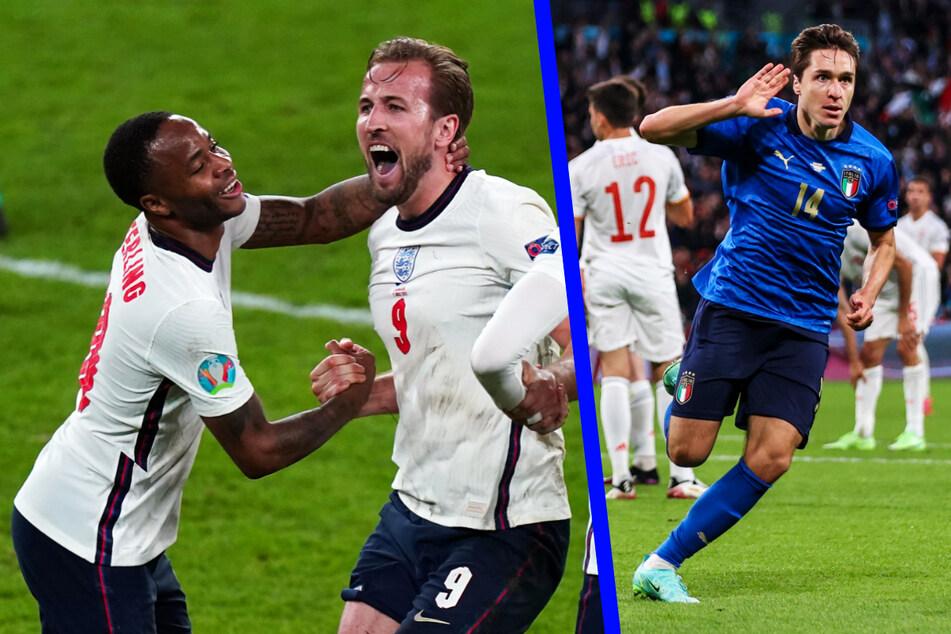 Raheem Sterling (26, l.) und Kapitän Harry Kane (27, M.) sind Englands offensive Lebensversicherung, bei Italien zeigte sich Federico Chiesa (23) zuletzt von seiner sportlich besten Seite.