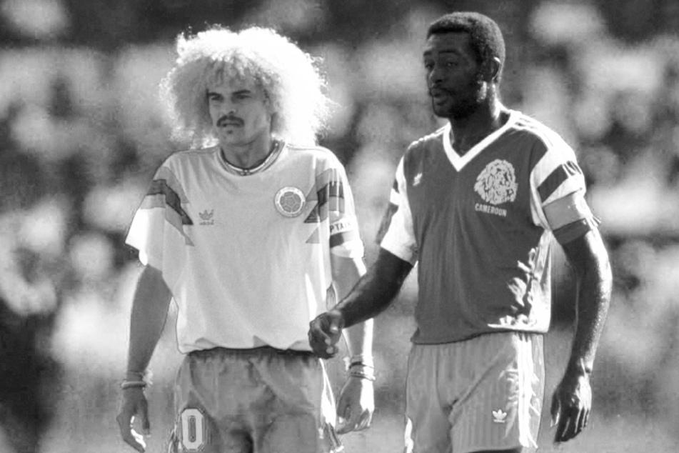 Stephen Tataw (r.), Kapitän von Kameruns Nationalmannschaft bei der WM 1990, ist am Freitag im Alter von 57 Jahren gestorben.