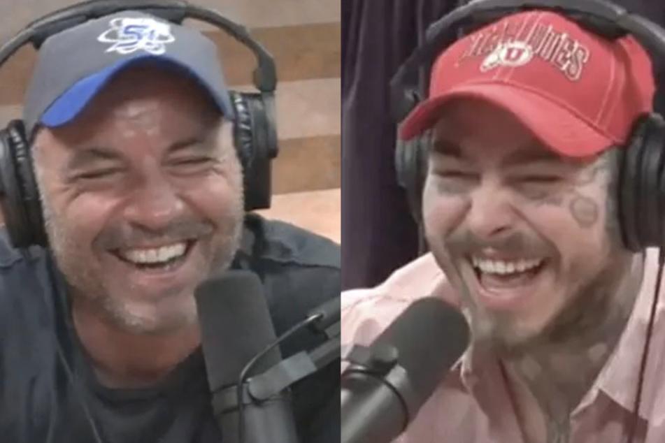 Joe Rogan (l) und Post Malone hatten sichtlich viel Spaß bei der Aufnahme des Podcasts.