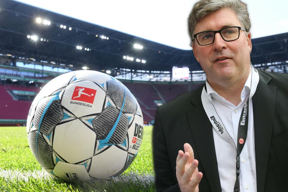 Eintracht-Vorstand Axel Hellmann (48) bereitet vor allem die Zuschauerfrage Bauchweh (Fotomontage).
