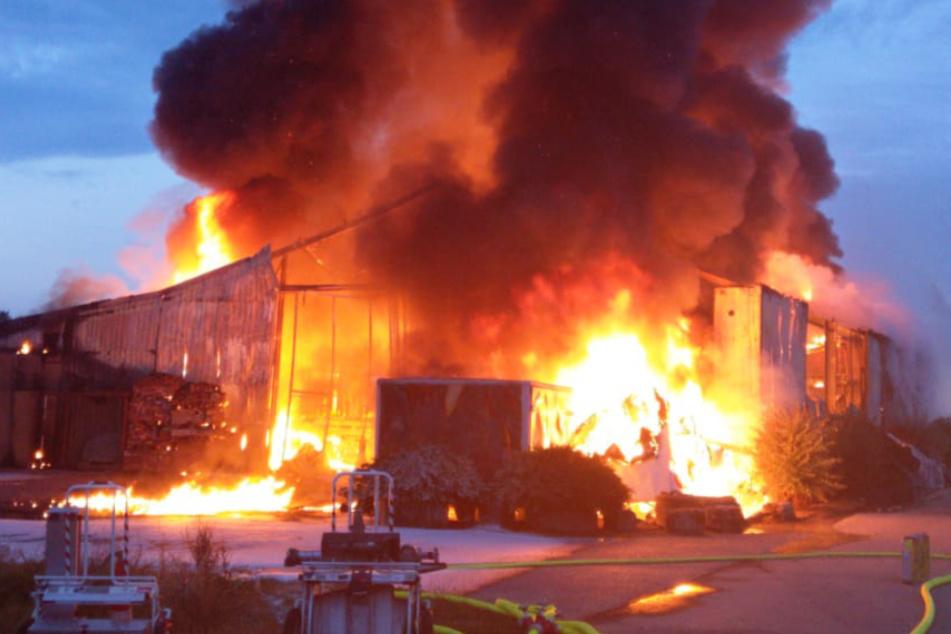 100 Meter hohe Rauchsäule: Flammenmeer in Lagerhalle löst Großeinsatz aus