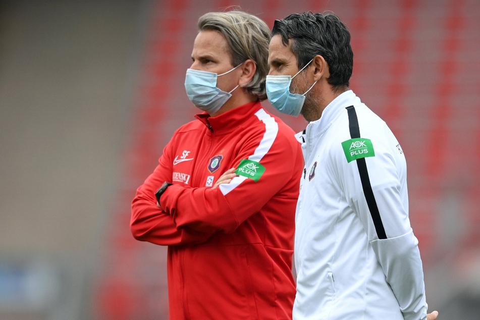 Dirk Schuster (rechts) und Co-Trainer Sascha Franz müssen wegen Krankmeldung passen.