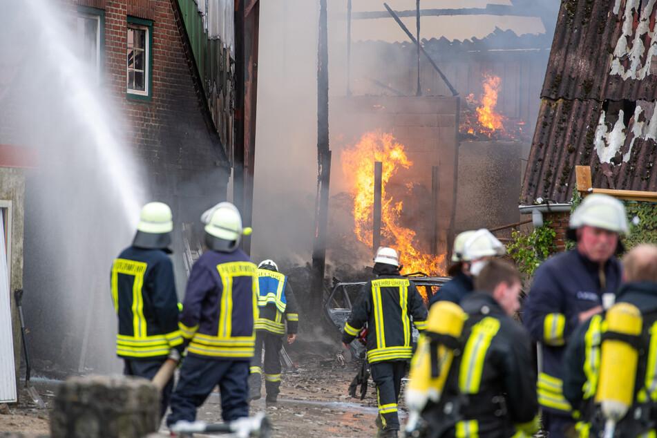 Die Feuerwehr bekämpfte stundenlang den Brand in Gelting.