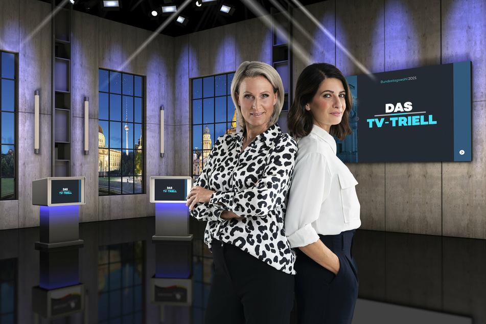 Claudia von Brauchitsch (l.) und Linda Zervakis moderieren am Sonntag das dritte TV-Triell.