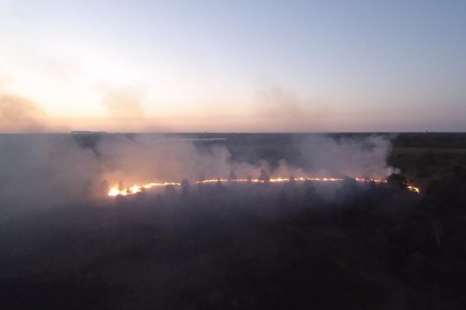 Großbrand im Moor unter Kontrolle: Hubschrauber soll helfen