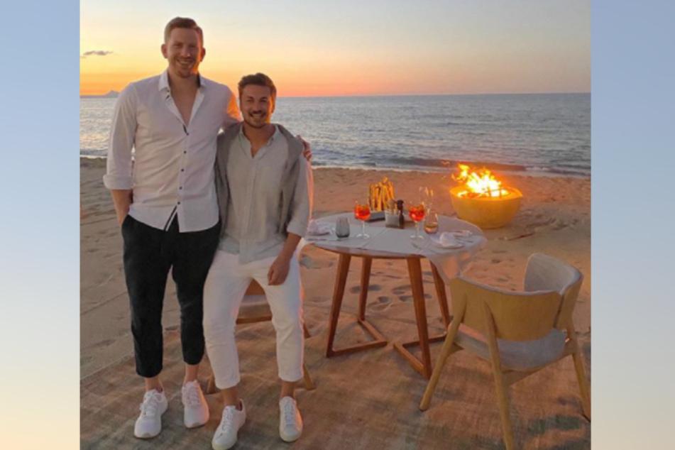 """Auch Lars Tönsfeuerborn (30, l.) bestätigte bei Instagram das Liebes-Aus zwischen ihm und Ex-""""Prince"""" Nicolas Puschmann (29)."""