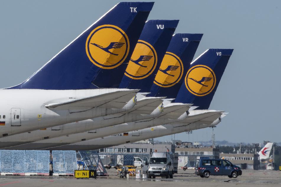 Stillgelegte Passagiermaschine der Lufthansa stehen auf einem Flughafen.