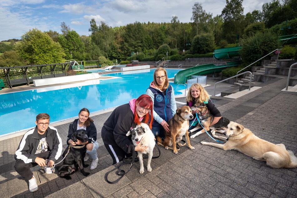 Joel Hertel (15) und Lea Grubisch (16) mit Arno (9), Carmen Markert mit Honey, Nora Uhlmann (30) mit Lenny (11) und Peggy Kreher mit Maxima (v.l.) freuen sich auf das Hundebaden.