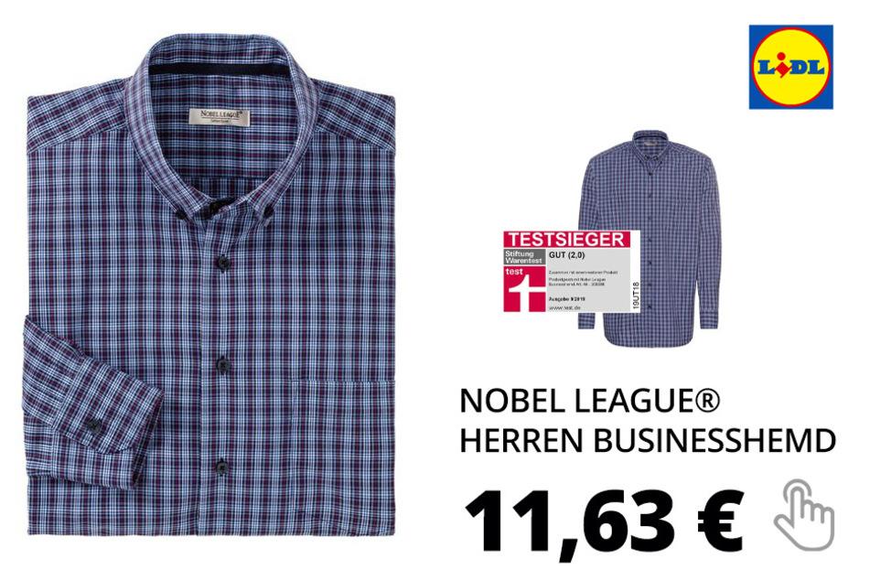 NOBEL LEAGUE® Herren Businesshemd – blau-kariert