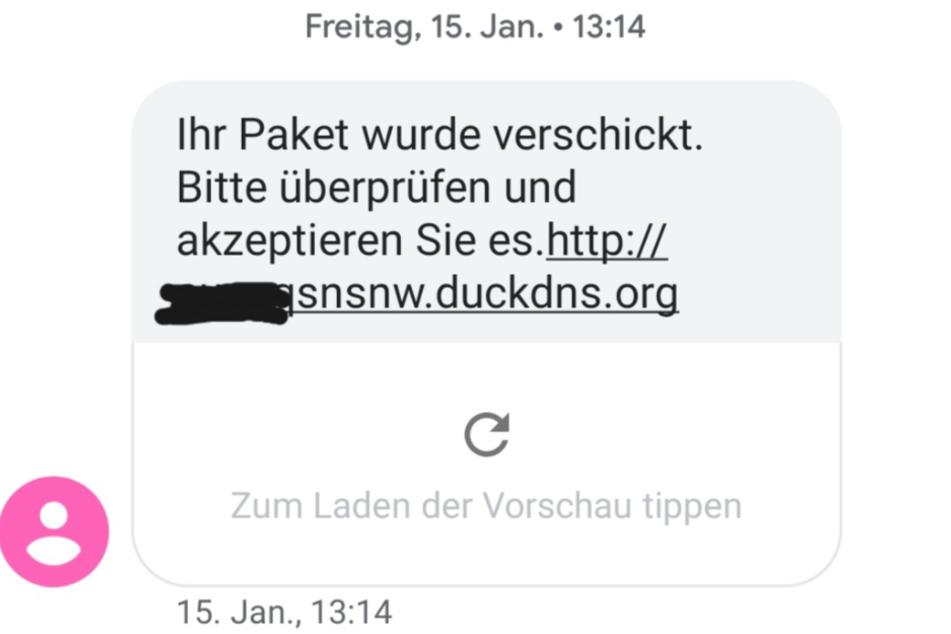 Die Polizei hat einen Screenshot einer solchen SMS veröffentlicht.