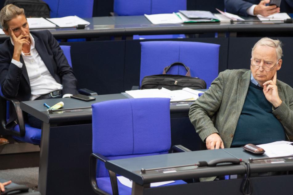 Die Fraktionsvorsitzenden der AfD Alice Weidel und Alexander Gauland sitzen in der Plenarsitzung im Deutschen Bundestag.