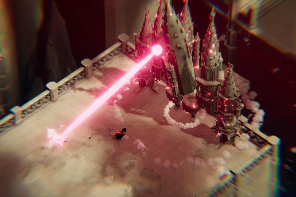 Vor allem die Bosse bieten immer wieder einzigartige Momente. Hier bekommt Ihr es beispielsweise mit einem laufenden Schloss zu tun, das Laser schießt!
