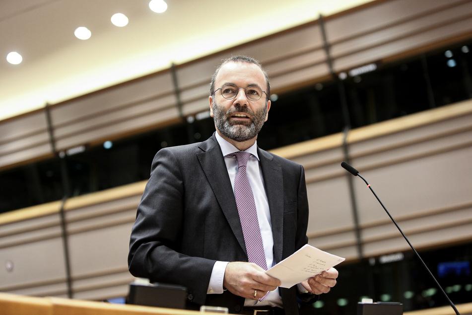 Manfred Weber, Vorsitzender der Europäischen Volkspartei (EVP), spricht während einer Plenarsitzung des Europäischen Parlaments. (Archivbild)
