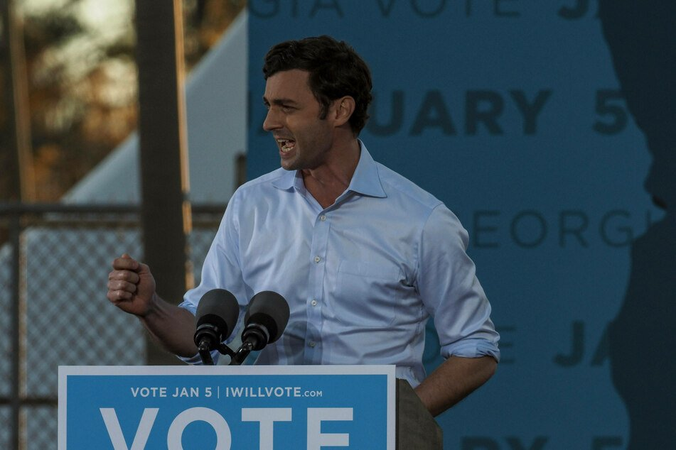 Democratic candidate Jon Ossoff speaking at a rally in Savannah, Georgia, on January 3.