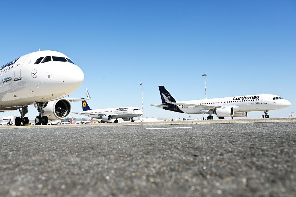 Am größten deutschen Flughafen in Frankfurt werden zahlreiche Lufthansa-Maschinen auf einer Landebahn geparkt. (Symbolbild)