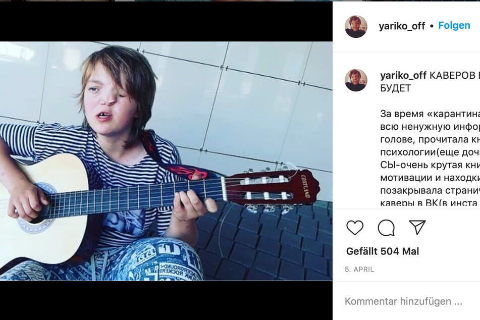 Yaroslava Oleinik (17) mit ihrer Gitarre auf Instagram.