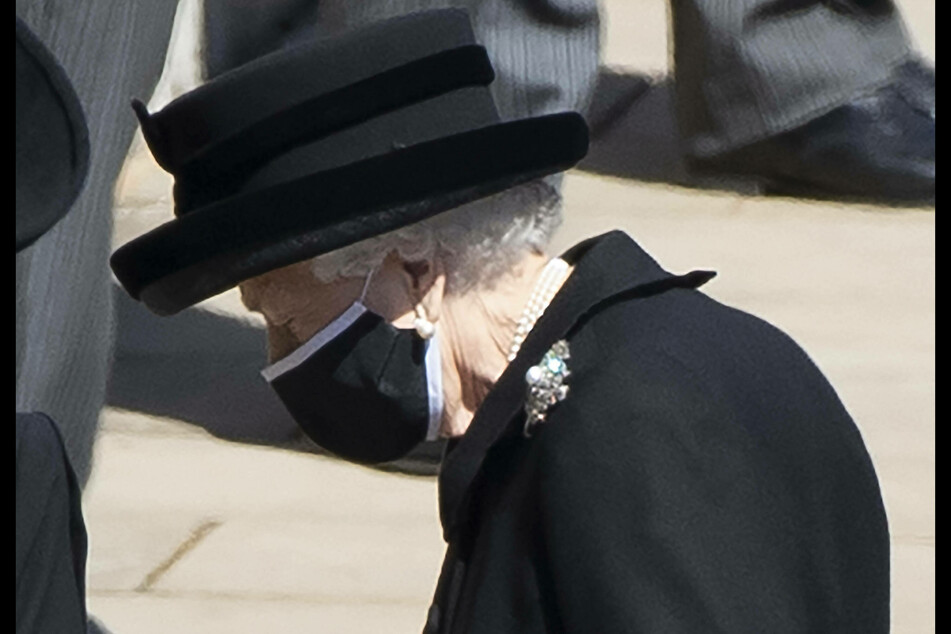 Queen Elizabeth II arrives for the funeral of her husband, Prince Philip.