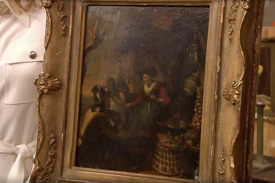 Das Gemälde zeigt eine typische Marktszene und soll aus der zweiten Hälfte des 18. Jahrhunderts stammen.