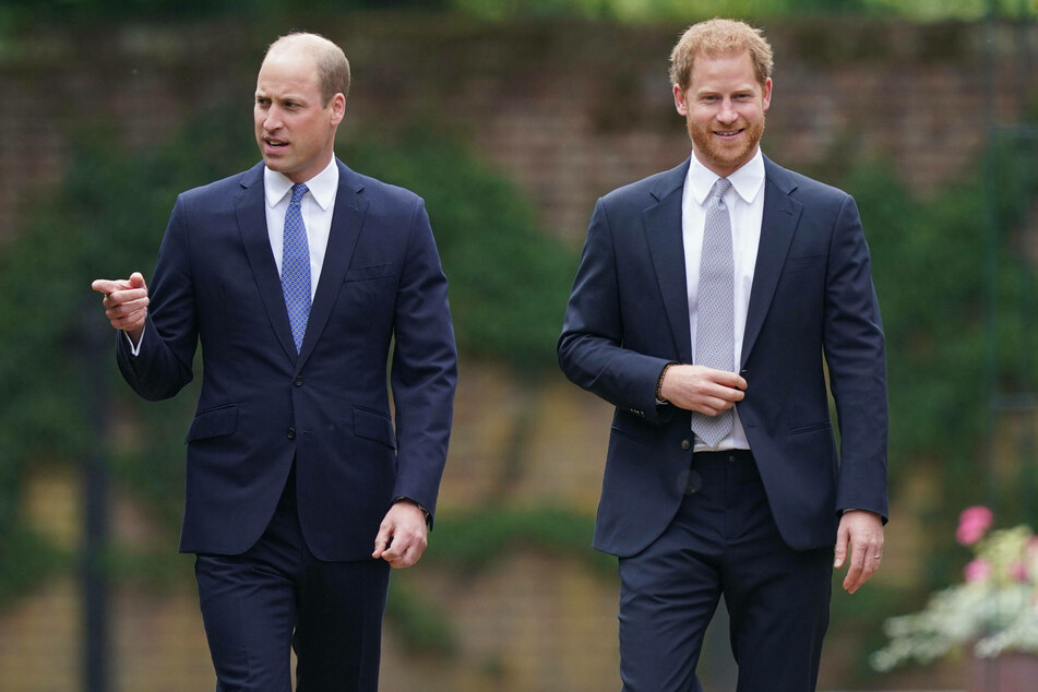 Prince William (l) and Prince Harry were seen together at the unveiling of the new Princess Diana statue at Kensington Palace in London.