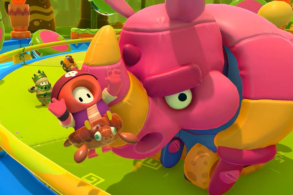 Dieser Hippo ist alles andere ans happy: Mechanische Nashörner gehören zu den neuen Gegnern der Fall Guys.