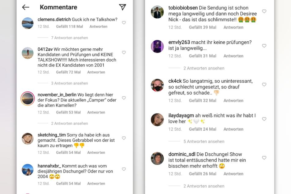 Das Urteil über die Dschungelshow fällt in dem Instagram-Kommentarspalten fast einstimmig negativ aus. (Fotomontage)