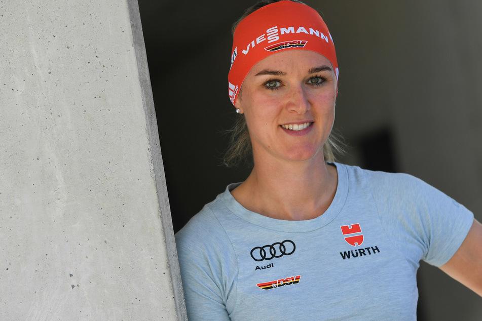 Biathletin Denise Herrmann (31) verteidigte erfolgreich ihren Titel im Sprint.