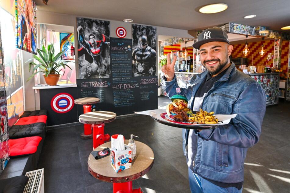 """""""Superheldenburger""""-Inhaber Amir Einali (32) freut sich über das neue Angebot für Chemnitzer Gastronomen."""