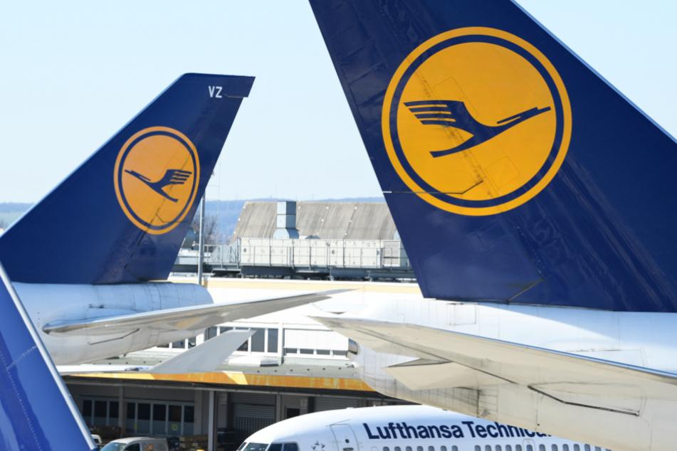 Lufthansa-Flugzeuge sind am Frankfurter Flughafen abgestellt.
