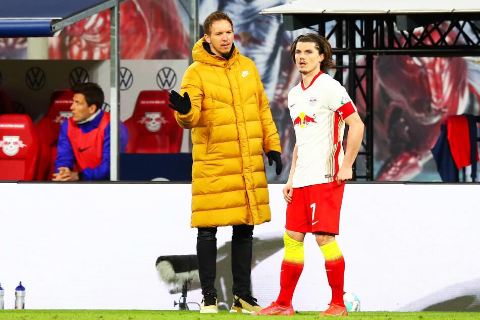 Julian Nagelsmann (34, v.-l.) machte Marcel Sabitzer (27, r.) in Leipzig zu seinem Kapitän. Sehen sie sich nun bald beim FC Bayern München wieder?