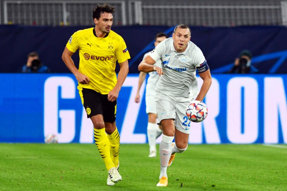 Artem Dzyuba (32; r.), hier in der Champions League im Duell mit BVB-Abwehrchef Mats Hummels, sorgt mit einem Masturbationsvideo für Aufsehen.