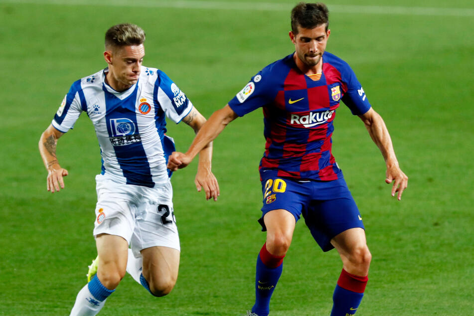 Sergi Roberto (29, r.) vom FC Barcelona könnte in diesem Sommer den Weg zum FC Bayern München und somit in die Bundesliga finden.