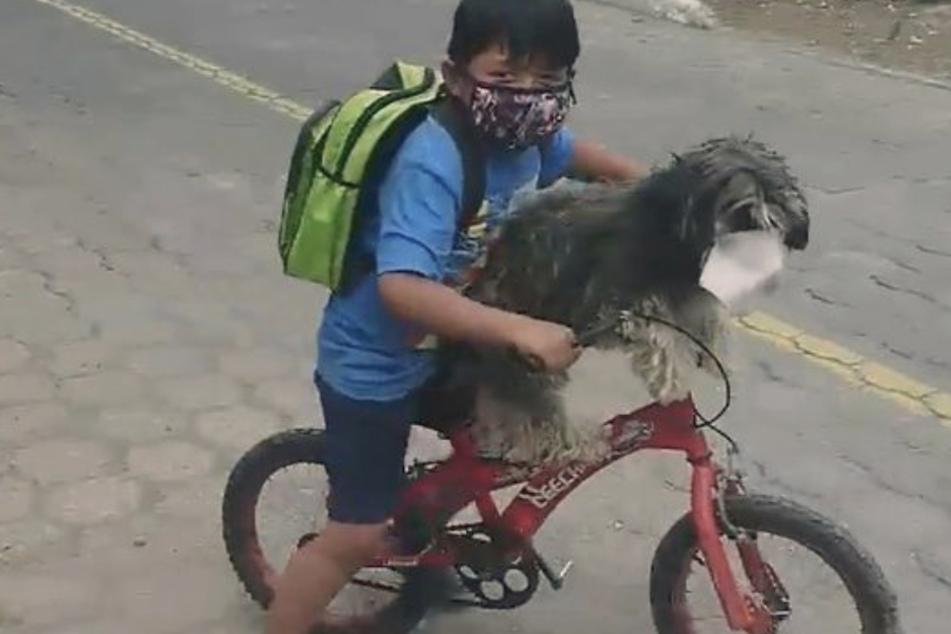 Danach düsen beide samt Mundschutz auf dem Rad davon.