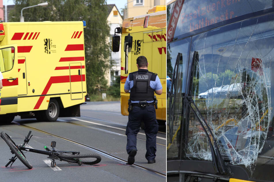 Radfahrerin prallt in Dresden frontal gegen Bus: Vollsperrung