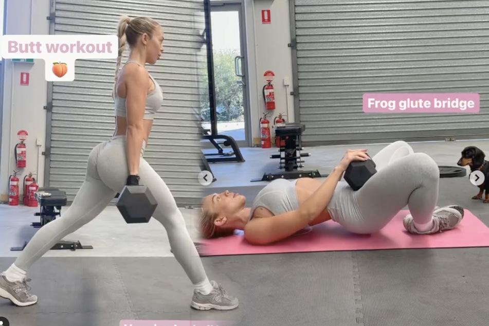 Blondine macht heißes Po-Workout, doch dann stiehlt ihr jemand die Show!