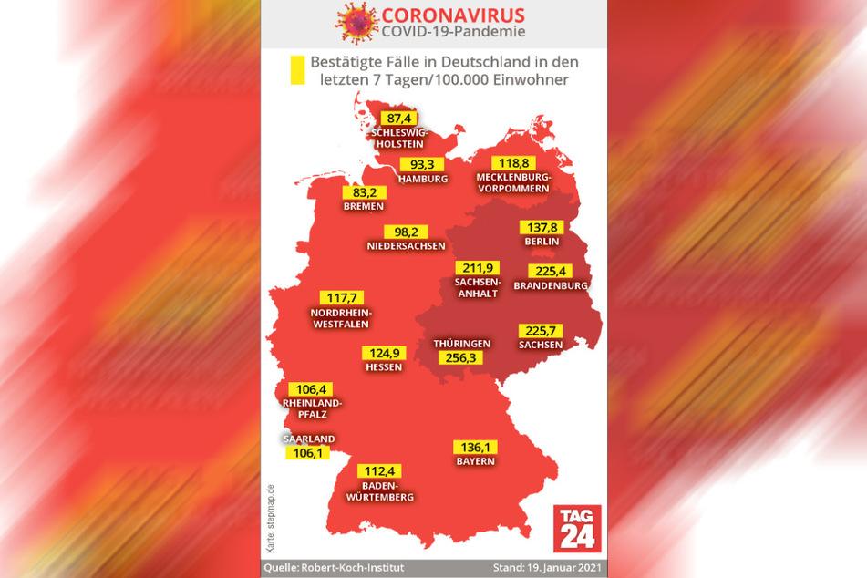 Derzeit werden in Thüringen und Sachsen die höchsten 7-Tage-Inzidenzen gemeldet.