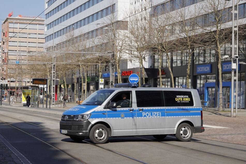 Polizeikontrollen im Chemnitzer Zentrum.