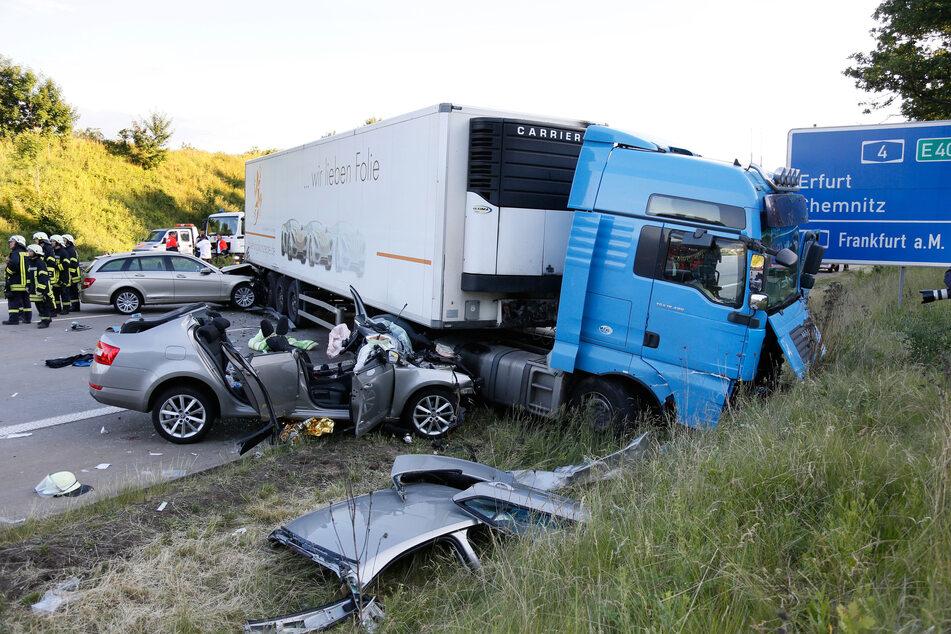 Unfall Chemnitz Autobahn A4 / A72 durch PKW und LKWs