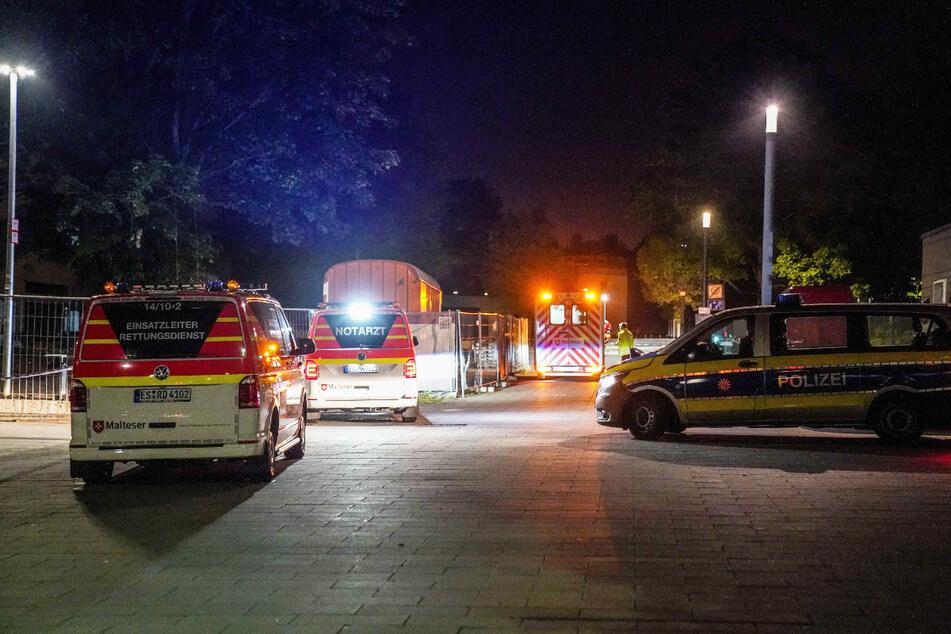 Einsatzkräfte in der Nacht in Ostfildern-Nellingen.